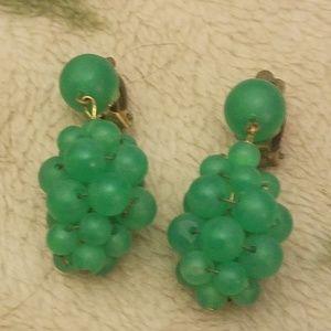 PM 317 West Germany green grape earrings